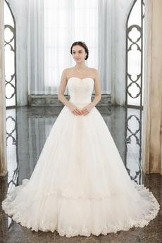 Vestito da sposa Inverno Applicato Satin Vita naturale Allacciare