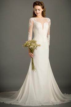 Vestito da nozze Sirena Estate Lungo Perline lussi Chiusura lampo