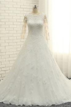Vestito da nozze Fuori dalla spalla Pulsante Coda a Strascico corto