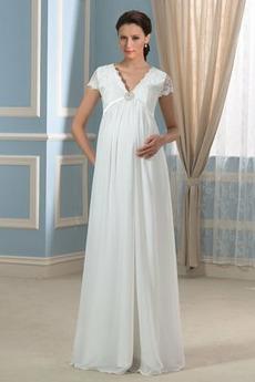 Vestito da sposa Premaman Scollo a v Delicato Alto coperto Maniche illusione