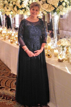 Vestito da madre Tulle Chiusura lampo Paletta A-line Perline Caviglia