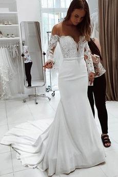 Vestito da sposa Maniche lunghe Classico Vita naturale Fuori dalla spalla