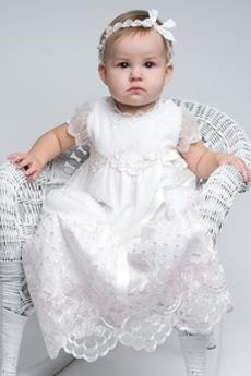 Vestito dalla bambina Tulle Vita naturale Bow accentati Formale