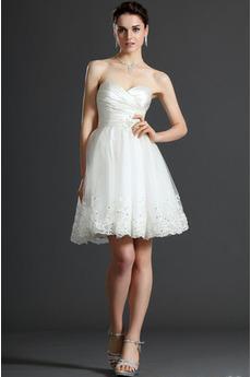 Vestito da sposa Vita naturale Tesoro Senza maniche Organza Breve