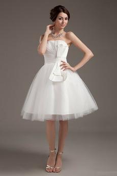Vestito da nozze Breve Sala Vita naturale Avorio Bordo ondulato