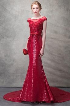 Vestito da sera Paillettes Bateau Elegante Maniche cotta Primavera
