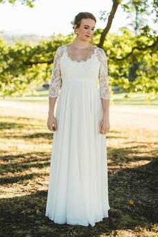 Vestito da sposa Maniche lunghe Taglie Forti Elegante Chiusura lampo