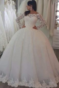 Vestito da sposa Maniche lunghe Autunno Vita naturale Formale