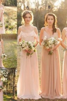 Vestito da damigella d'onore Matrimonio Vita naturale Senza maniche