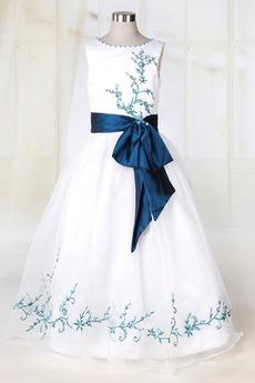 Vestito da fiore ragazza Principessa Inverno Dropped Waist Bow accentati