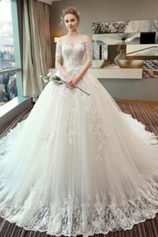 Vestito da nozze Vita naturale Chiesa Allacciare Lungo A-line