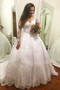 Vestito da nozze Maniche lunghe A-line Medio Pizzo Autunno Applicato