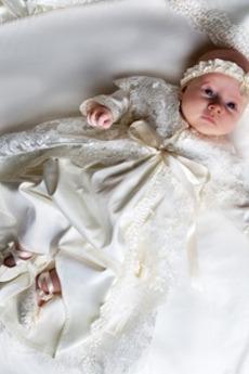 Abito di battesimo Lungo Cerimonia Formale Gioiello Merletto Principessa