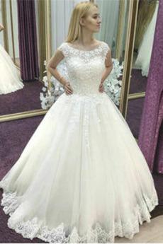 Vestito da sposa Elegante Swing Pera Senza maniche Chiesa Primavera