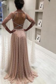 Vestito da sera Ciondolo accentato gioiello Perle Gioiello A-line