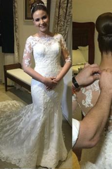 Vestito da sposa Maniche lunghe Vintage Autunno Pulsante Merletto