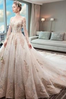 Vestito da nozze Maniche lunghe Pera Maniche illusione Sovrapposizione di pizzo