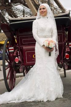 Vestito da sposa Inverno Coda A Strascico Cappella Applicato Con il velo