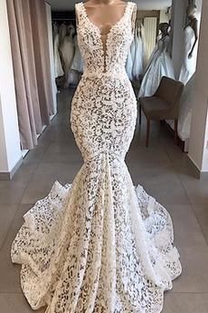 Vestito da nozze Spazzare treno Vita naturale Delicato Sirena
