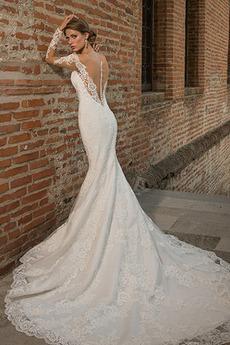 Vestito da sposa Maniche lunghe Maniche illusione Scollo a v Tulle