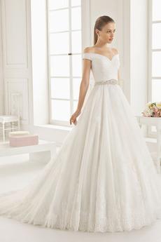 Vestito da sposa Chiusura lampo Fuori dalla spalla Rettangolo