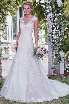 Vestito da sposa Senza schienale Vita naturale Raso Magro Senza maniche