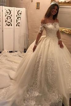 Vestito da sposa Pizzo Scintillare Raso Maniche lunghe Triangolo invertito