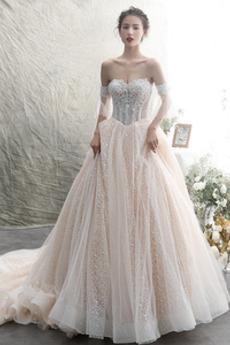 Vestito da sposa Maniche corte Perline Triangolo invertito A-line