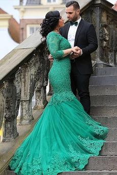 Vestito da sera Sirena Maniche lunghe lussi Matrimonio Strascico spazzata