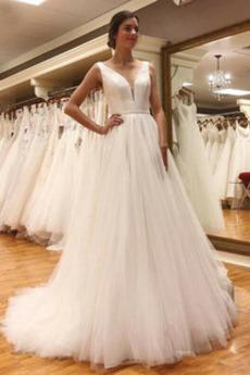 Vestito da sposa Senza schienale Raso Semplici Profondo scollo a v