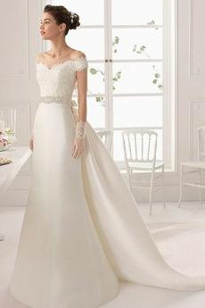 Vestito da sposa Chiusura lampo Cristallo Maniche cotta All Aperto