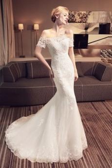 Vestito da nozze Sirena Vita naturale Fuori dalla spalla Pizzo