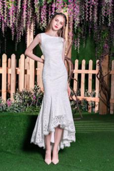 Vestito da nozze Pizzo Sovrapposizione di pizzo Bateau Asimmetrico