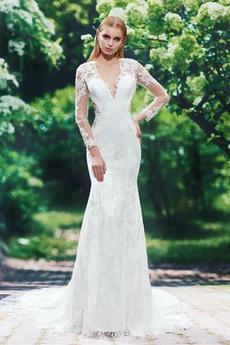 Vestito da nozze Guaina Delicato Autunno Chiusura lampo Maniche lunghe