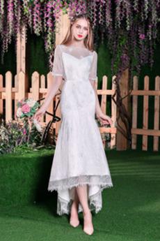 Vestito da nozze Maniche corte Sirena Vita naturale Bateau Sovrapposizione di pizzo