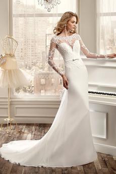 Vestito da sposa Maniche lunghe Maniche illusione Vita naturale