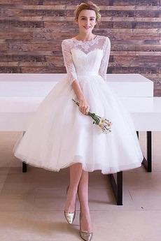 Vestito da sposa lussi Pizzo Maniche lunghe 3/4 Ginocchio Sovrapposizione di pizzo