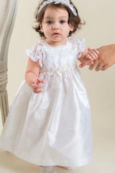 Abito di battesimo Bow accentati Vita naturale Ghirlanda Principessa