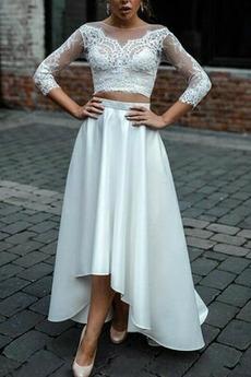 Vestito da nozze Maniche lunghe Asimmetrico Merletto Vita naturale