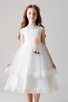 Vestito da fiore ragazza Rosetta accentato A-line Pizzo Vita naturale