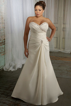 Vestito da nozze Vita naturale A-line Taglia grossa Argento Pavimento