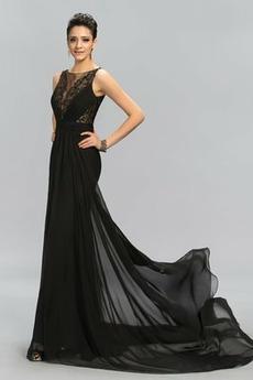 Vestito da sera Spazzola Treno Senza maniche Elegante Pizzo Chiusura lampo