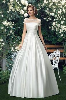 Vestito da sposa Satin Pieghe Primavera Formale Maniche corte