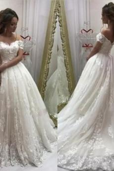 Vestito da sposa Maniche corte Strascico spazzata Formale Chiesa