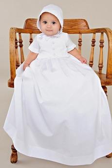 Abito di battesimo Maglietta Raso Collo alto Banchetto Lungo Alto coperto