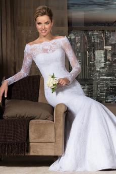 Vestito da nozze Maniche lunghe Pizzo Vita naturale Fuori dalla spalla