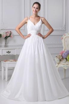Vestito da sposa Raso Impero Romantici Primavera Cintura in rilievo