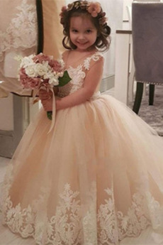 Vestito da fiore ragazza A-line Gioiello Inverno Tulle Chiusura lampo