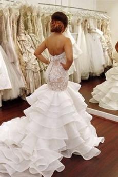 Vestito da nozze Lungo Tesoro Pizzo Multi-strato. Autunno Cameriera di mare