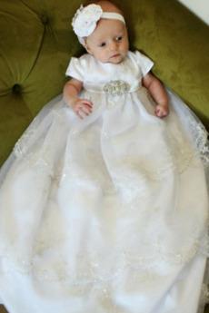 Abito di battesimo Principessa Maglietta Primavera Ghirlanda Lungo